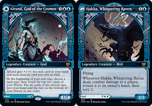 Alrund, God of the Cosmos // Hakka, Whispering Raven - Foil - Showcase