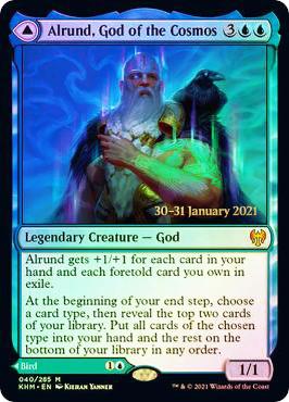 Alrund, God of the Cosmos // Hakka, Whispering Raven - Foil - Prerelease Promo