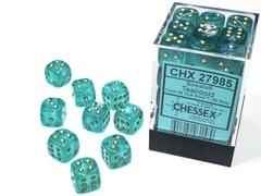 36 12mm Teal/Gold Borealis D6 Dice Set - CHX27985