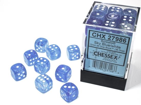 36 12mm Sky Blue/White Borealis D6 Dice Set - CHX27986