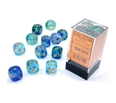 12Ct Nebula D6 Dice Set Oceanic/Gold Luminary (CHX27756)