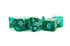 16mm Stardust Acrylic Poly Dice Set: Green w/ Blue Numbers