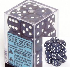 12 Stealth Specled 16mm D6 Dice Block - CHX25746