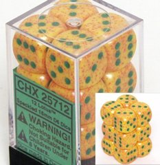 CHX 25712 - 12 Lotus Speckled 16mm d6 Dice