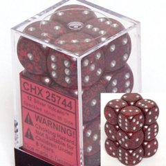 12 Silver Volcano Speckled 16mm D6 Dice Block - CHX25744
