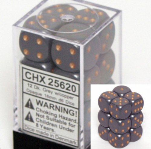 12 Dark Grey w/copper Opaque 16mm D6 Dice Block - CHX25620