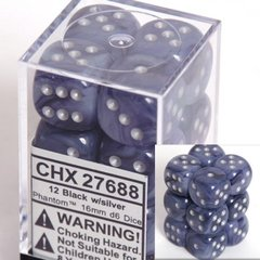 12 Black w/silver Phantom 16mm D6 Dice Block - CHX27688