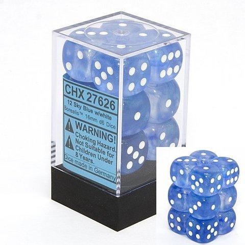 12 Sky Blue w/white Borealis 16mm D6 Dice Block - CHX27626