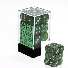 12 Green w/silver Velvet 16mm D6 Dice Block - CHX27675