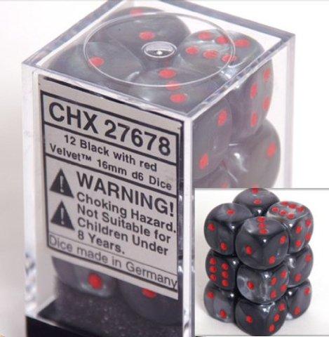 12 Black w/red Velvet 16mm D6 Dice Block - CHX27678