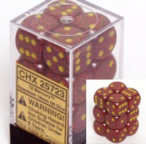 12 Mercury Speckled 16mm D6 Dice Block - CHX25723