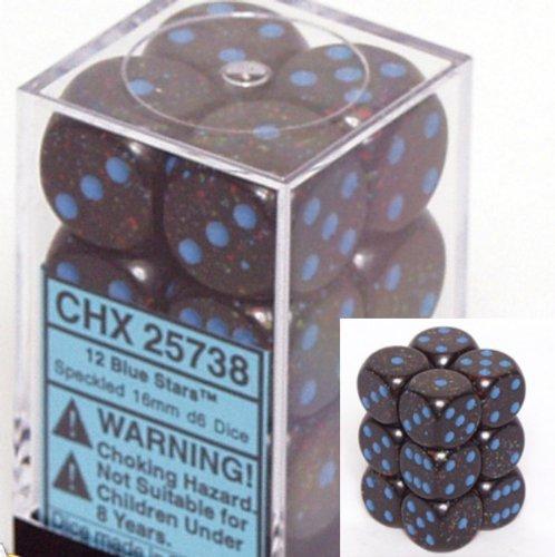12 Blue Stars Speckled 16mm D6 Dice Block - CHX25738