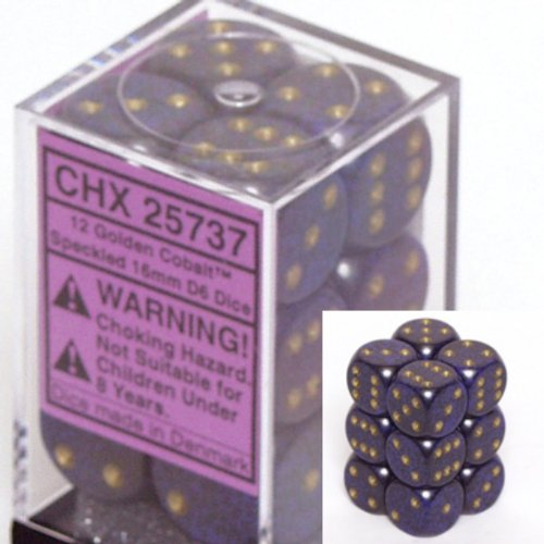 12 Golden Cobalt Speckled 16mm D6 Dice Block - CHX25737