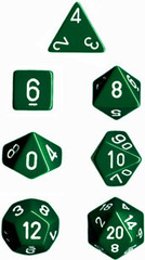 Green/White Opaque d6 w/ #'s - PQ0605