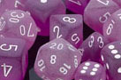Frosted Polyhedral Purple/white d12 - PF1207