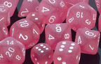 Frosted Polyhedral Pink/white d10 - PF1014