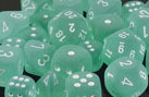 Frosted Polyhedral Teal/white d10 - PF1025