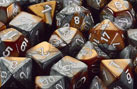 Polyhedral Copper-Steel w/white d8 - PG0824
