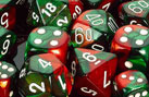 Polyhedral Green-Red w/white d8 - PG0831