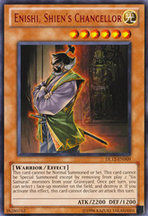 Enishi, Shien's Chancellor - Red - DL12-EN009 - Rare - Promo Edition on Channel Fireball
