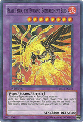 Blaze Fenix, the Burning Bombardment Bird - PRC1-EN012 - Super Rare - 1st Edition - Promo