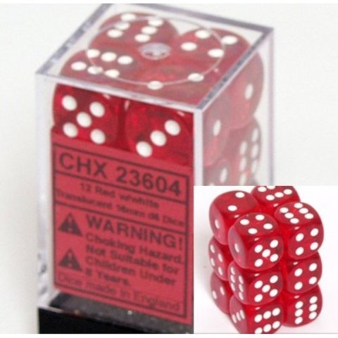 12 Red w/white Translucent 16mm d6 Dice Block - CHX23604