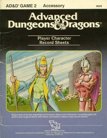 AD&D GAME 2 Player Character Record Sheets