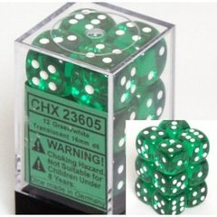 CHX23605 12d6 16mm Translucent Green w/White Dice Set