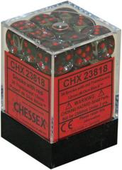 36 Smoke w/red Translucent 12mm D6 Dice Block - CHX23818