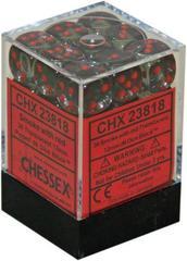 23818 36 Smoke w/red Translucent 12mm D6 Dice Block