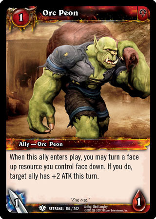Orc Peon World Of Warcraft Tcg Betrayal Of The Guardian
