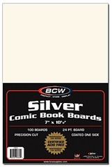 Silver Comic Book Backing Boards - 7 x 10 1/2 - Pack of 100