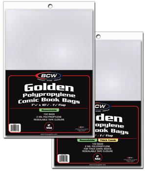BCW Golden RESEALABLE Comic Book Bags - THICK Comics