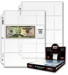 Pro 4-Pocket Currency Pages - Box of 100