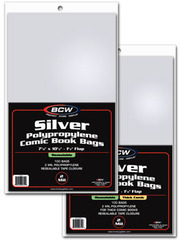 BCW Silver RESEALABLE Comic Book Bags - THICK Comics - 7 1/4 x 10 1/2 - Pack of 100