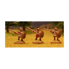 Libyan spearmen 3. Attacking, linen armour, crested helmet, hoplite shield (150703-0049)